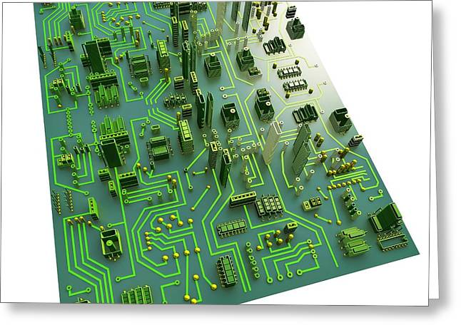 Motherboard Greeting Cards - Circuit City, Computer Artwork Greeting Card by Pasieka