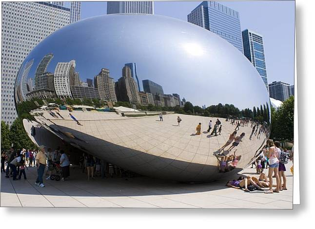 Distortion Greeting Cards - Cloud Gate Sculpture In Chicago Greeting Card by Mark Williamson