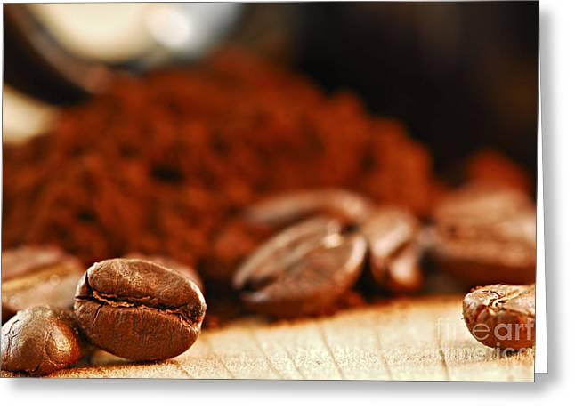 Coffee Table Greeting Cards - Coffee beans and ground coffee Greeting Card by Elena Elisseeva