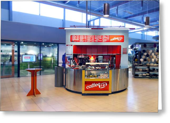 Food Kiosk Greeting Cards - Coffee In Coffee Shop In A Large Public Greeting Card by Jaak Nilson