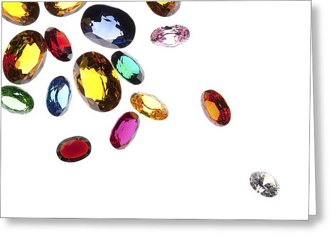 Sapphire Jewelry Greeting Cards - Colorful Gems Greeting Card by Setsiri Silapasuwanchai