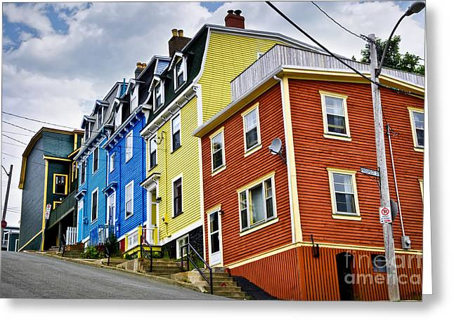 House Greeting Cards - Colorful houses in St. Johns Newfoundland Greeting Card by Elena Elisseeva