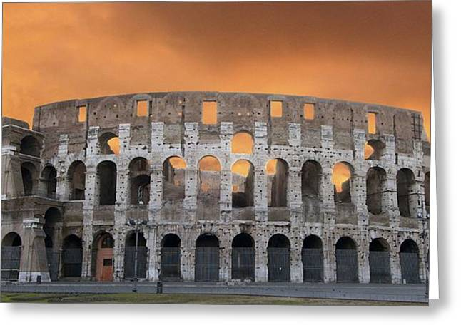 Wholly Greeting Cards - Colosseum. Rome Greeting Card by Bernard Jaubert