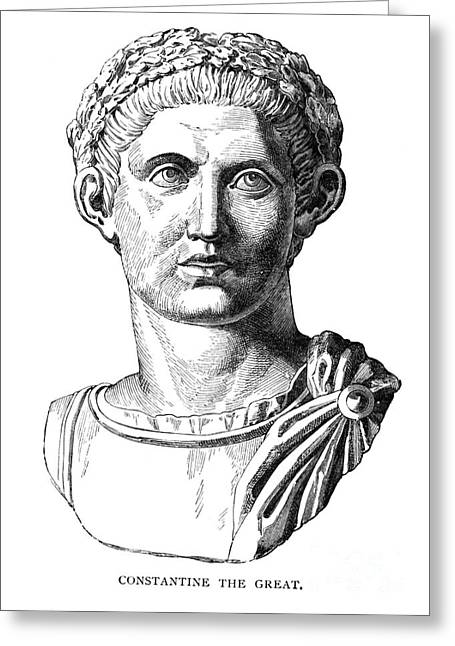 Statue Portrait Photographs Greeting Cards - CONSTANTINE I (d. 337) Greeting Card by Granger