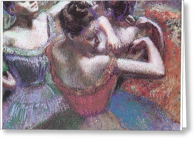 Ballet Dancers Pastels Greeting Cards - Dancers Greeting Card by Edgar Degas