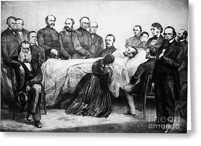 First-lady Greeting Cards - Death Of Lincoln, 1865 Greeting Card by Granger