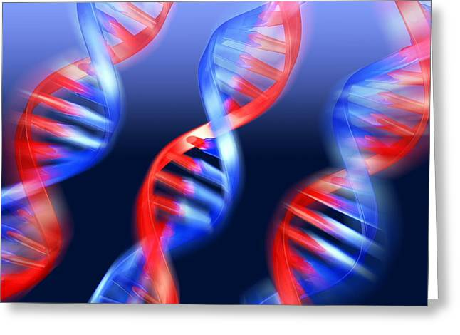 Helix Greeting Cards - Dna Molecules, Artwork Greeting Card by Pasieka