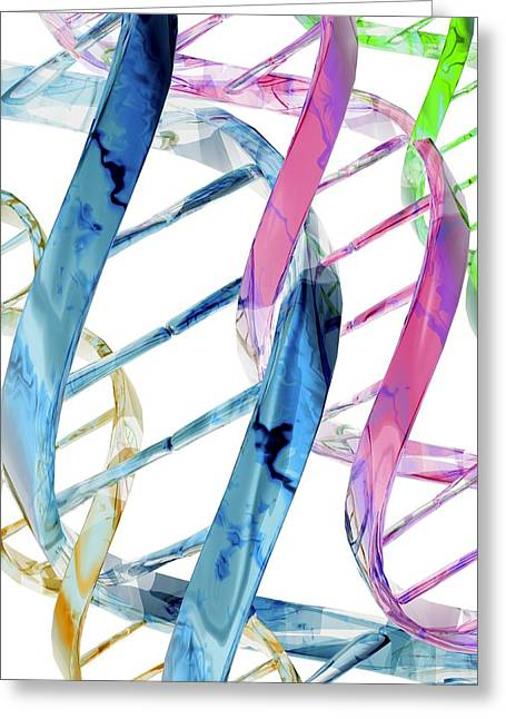 Helix Greeting Cards - Dna Molecules, Computer Artwork Greeting Card by Laguna Design