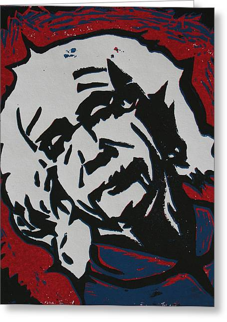Lino Greeting Cards - Einstein 2 Greeting Card by William Cauthern