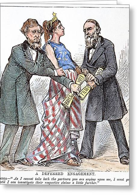 1876 Greeting Cards - Election Cartoon, 1876 Greeting Card by Granger