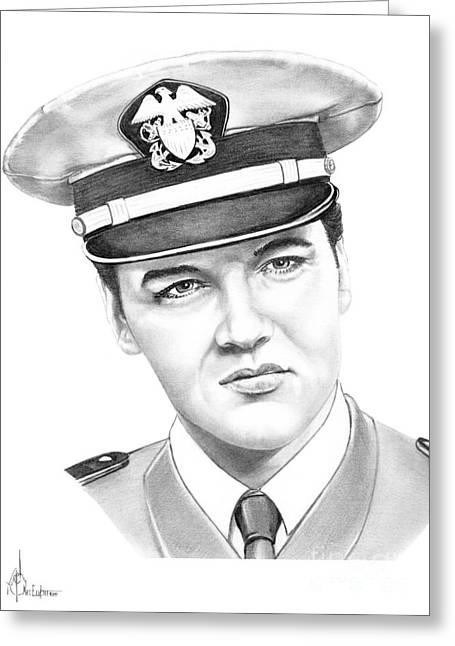 Elvis Presley Drawing Greeting Cards - Elvis Presley Greeting Card by Murphy Elliott