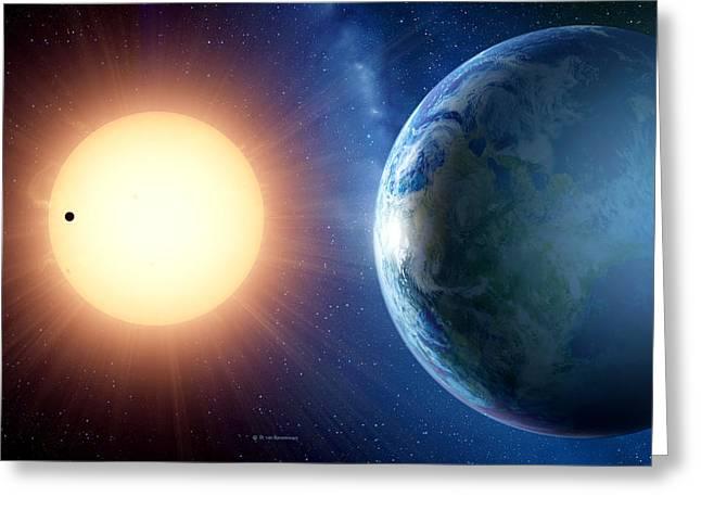 Super Stars Greeting Cards - Extrasolar Planet Gliese 581c, Artwork Greeting Card by Detlev Van Ravenswaay