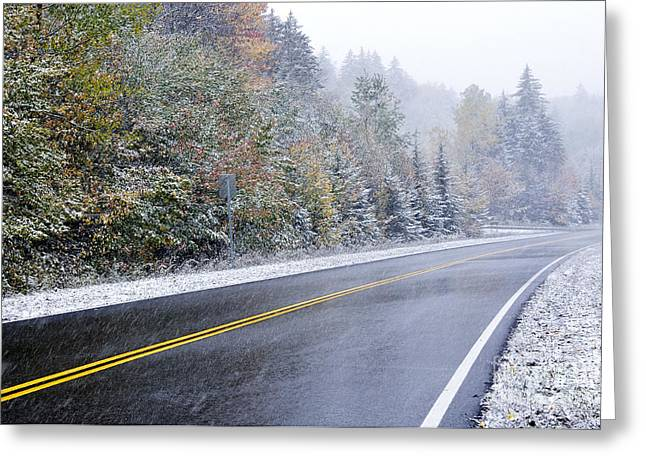 Fall Color And Snow Along The Highland Scenic Highway Greeting Card by Thomas R Fletcher
