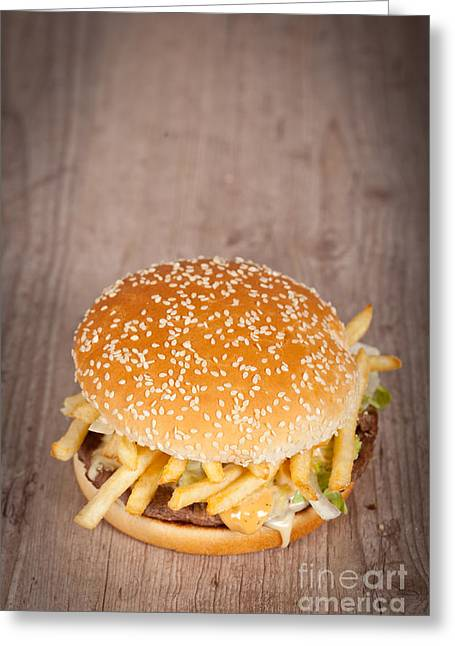 French Fries Greeting Cards - Fat hamburger sandwich Greeting Card by Sabino Parente