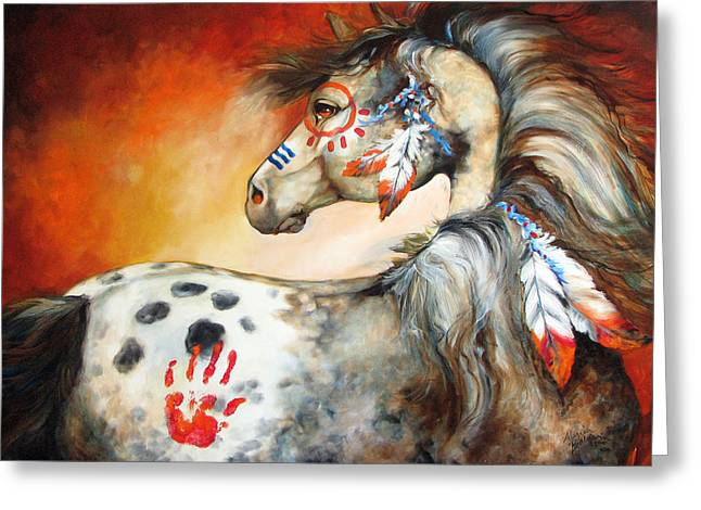 Animals Paintings Greeting Cards - 4 Feathers Indian War Pony Greeting Card by Marcia Baldwin
