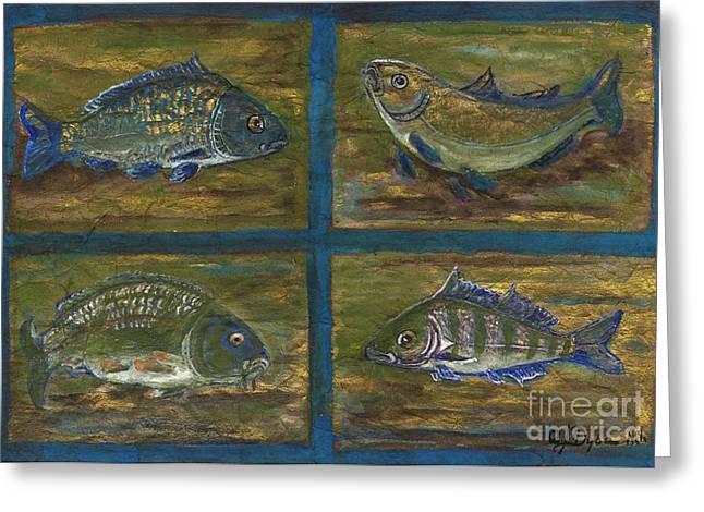 Polish American Folk Art Greeting Cards - 4 Fishes Greeting Card by Anna Folkartanna Maciejewska-Dyba