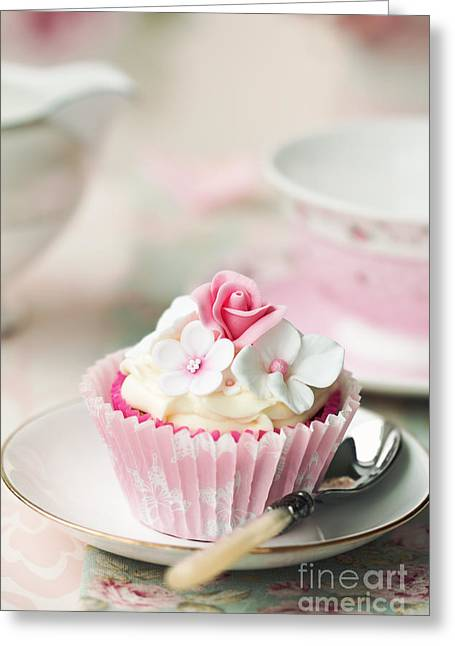 Vintage Teacup Greeting Cards - Flower cupcake Greeting Card by Ruth Black