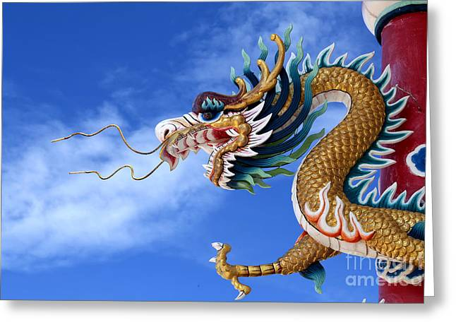 China Beach Greeting Cards - Giant golden Chinese dragon Greeting Card by Anek Suwannaphoom