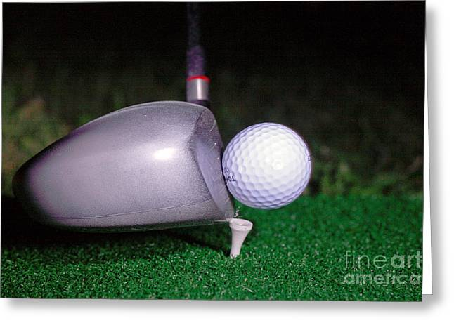 Action Reaction Greeting Cards - Golf Club Hitting Ball Greeting Card by Ted Kinsman