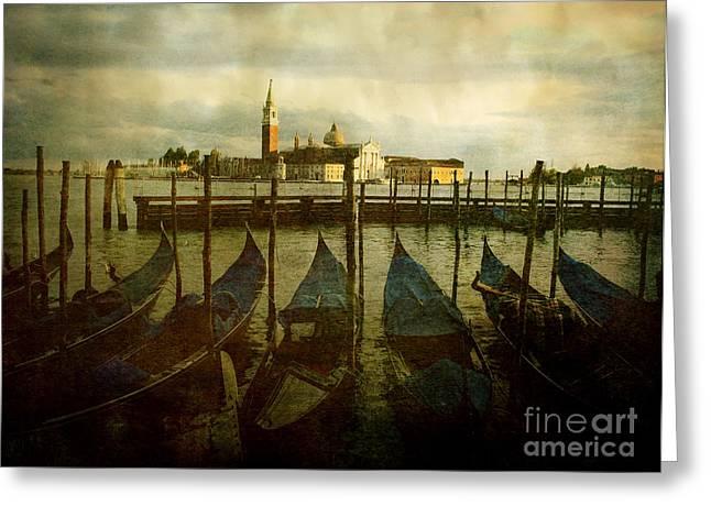 Landing Stage Greeting Cards - Gondolas. Venice Greeting Card by Bernard Jaubert