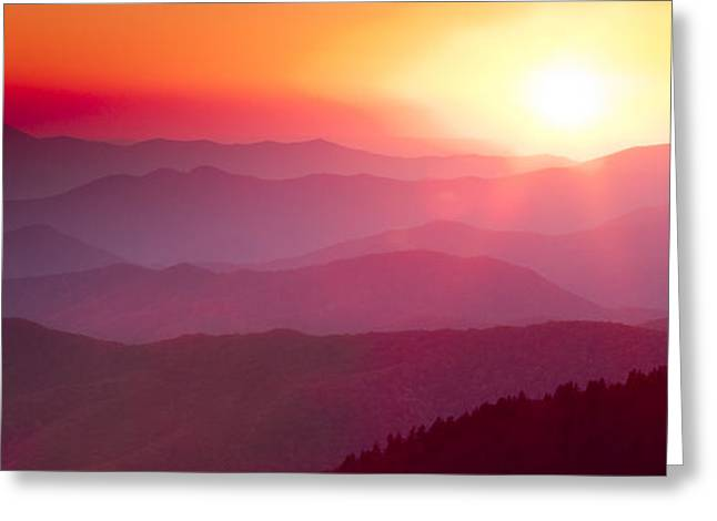 Amazing Sunset Greeting Cards - Great Smokie Mountains Sunset Greeting Card by Dustin K Ryan