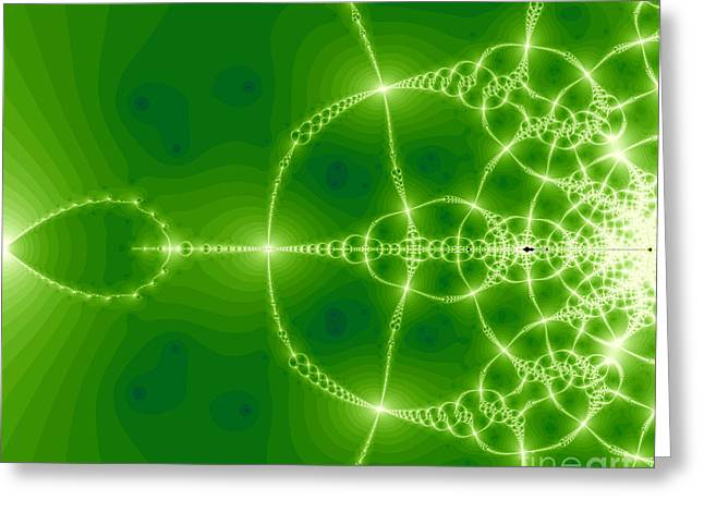 Green fractal Greeting Card by Odon Czintos
