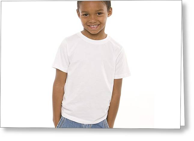 Hand In Pocket Greeting Cards - Happy Boy Greeting Card by