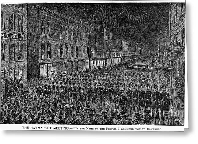 Brutality Greeting Cards - Haymarket Riot, 1886 Greeting Card by Granger