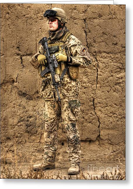 Hdr Image Of A German Army Soldier Greeting Card by Terry Moore