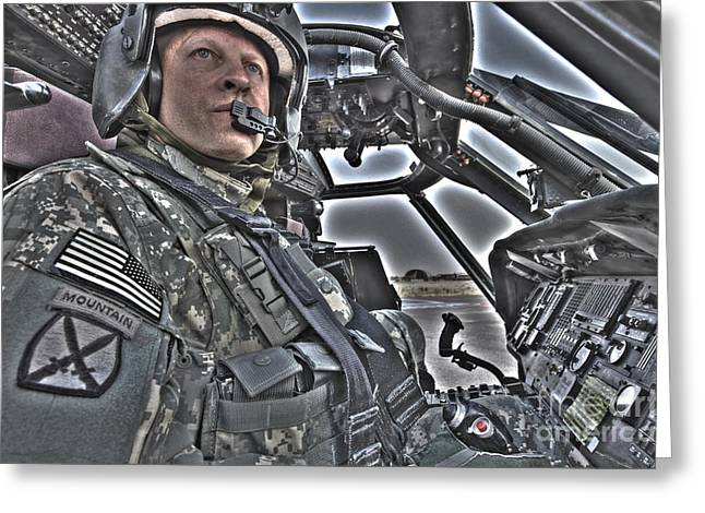 Throttle Greeting Cards - Hdr Image Of A Pilot Sitting Greeting Card by Terry Moore