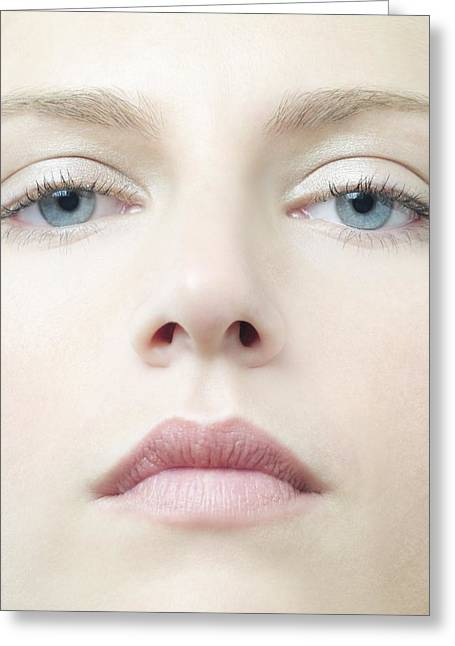 Part Of The Body Greeting Cards - Healthy Womans Face Greeting Card by
