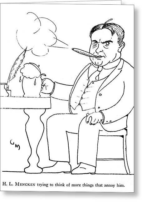 Stein Greeting Cards - Henry Louis Mencken Greeting Card by Granger