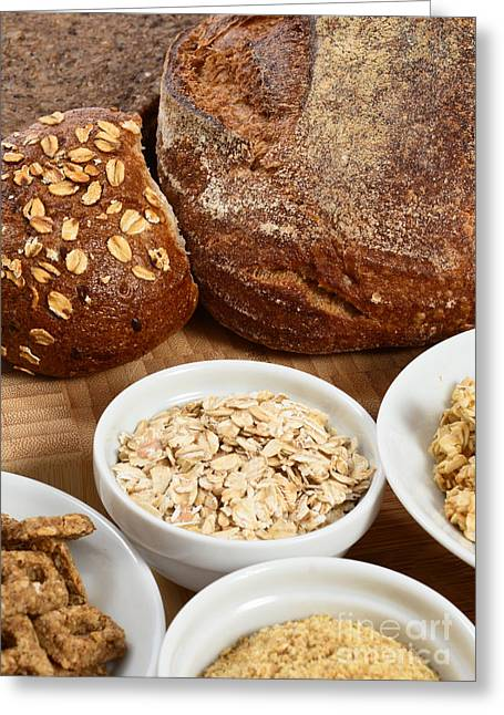 Oatmeal Greeting Cards - High Fiber Food Greeting Card by Photo Researchers, Inc.