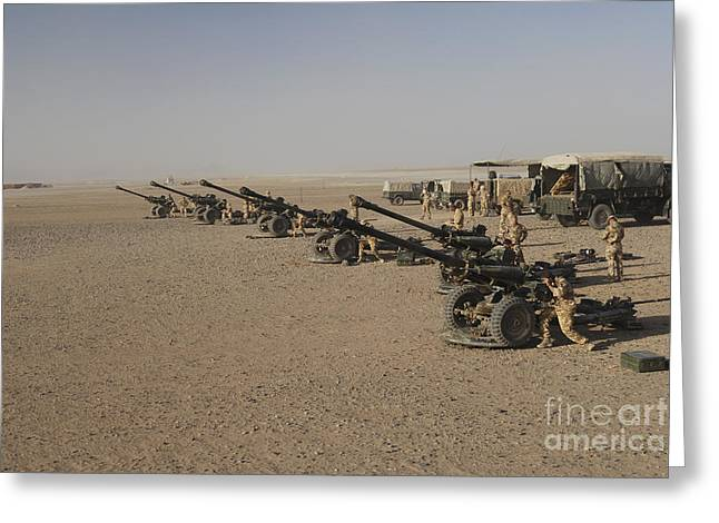 Artillery Gun Greeting Cards - Howitzer 105mm Light Guns Are Lined Greeting Card by Andrew Chittock