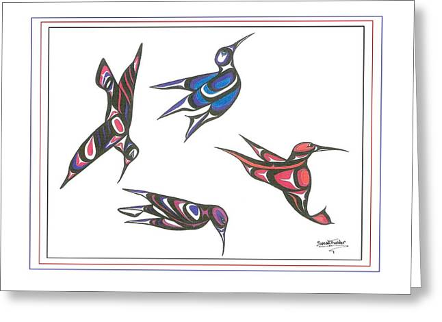 4 Hummingbirds Greeting Card by Speakthunder Berry