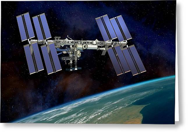 Iss Greeting Cards - International Space Station, Artwork Greeting Card by David Ducros