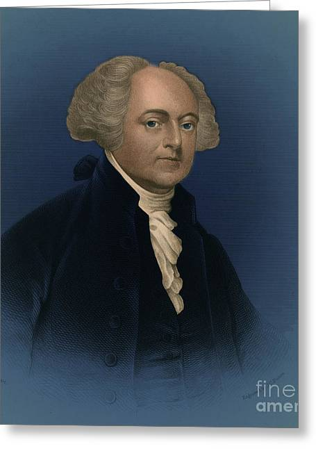 U S Founding Father Greeting Cards - John Adams, 2nd American President Greeting Card by Photo Researchers