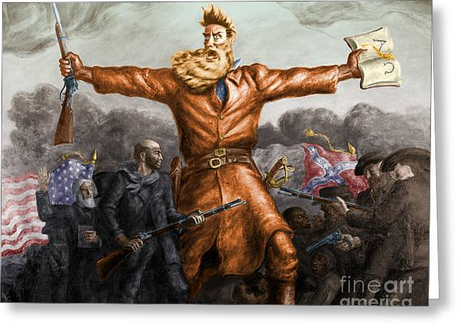 Controversial Greeting Cards - John Brown American Abolitionist Greeting Card by Photo Researchers