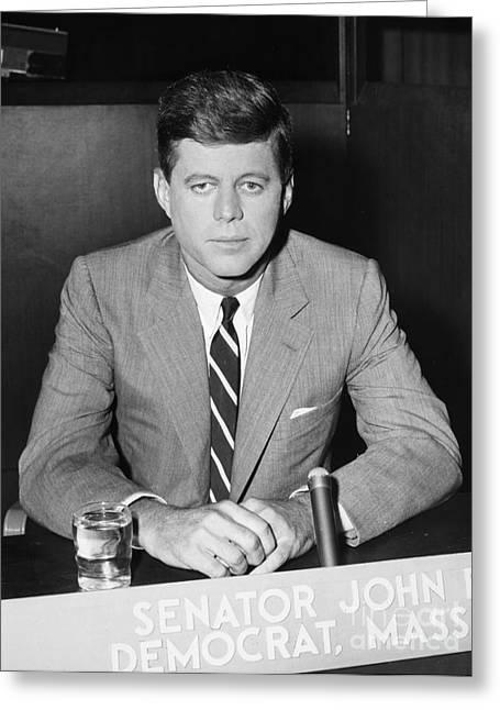 Senator Kennedy Greeting Cards - John F. Kennedy Greeting Card by Granger