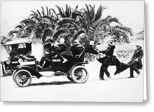 Paddy Wagon Greeting Cards - Keystone Kops Greeting Card by Granger
