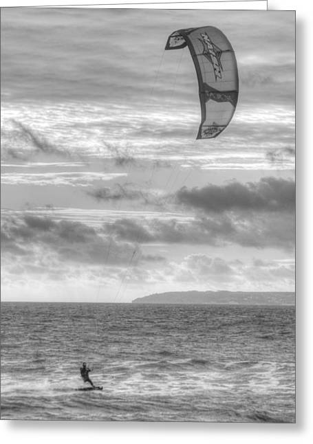 Kite Surfing Greeting Cards - Kite Surfer Greeting Card by Chris Day