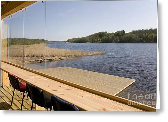Lakeside Building And Dock Greeting Card by Jaak Nilson