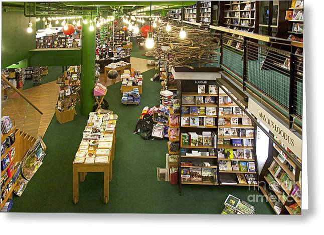 Bookcase Greeting Cards - Large Bookstore Interior Greeting Card by Jaak Nilson