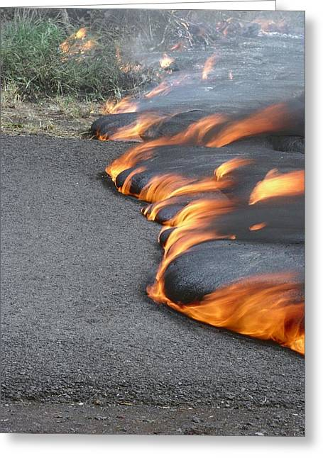 Lava Flow Greeting Cards - Lava Flow From Kilauea Volcano Greeting Card by G. Brad Lewis