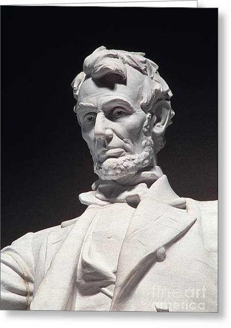 Statue Portrait Greeting Cards - Lincoln Memorial: Statue Greeting Card by Granger
