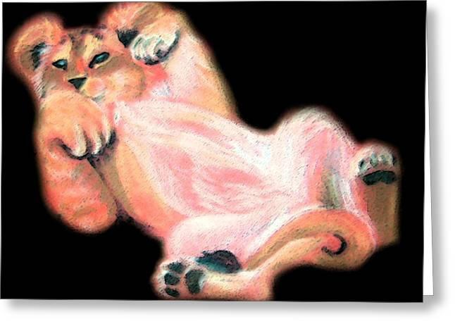 Bright Pastels Greeting Cards - Lion Cub Greeting Card by Karen Cruz