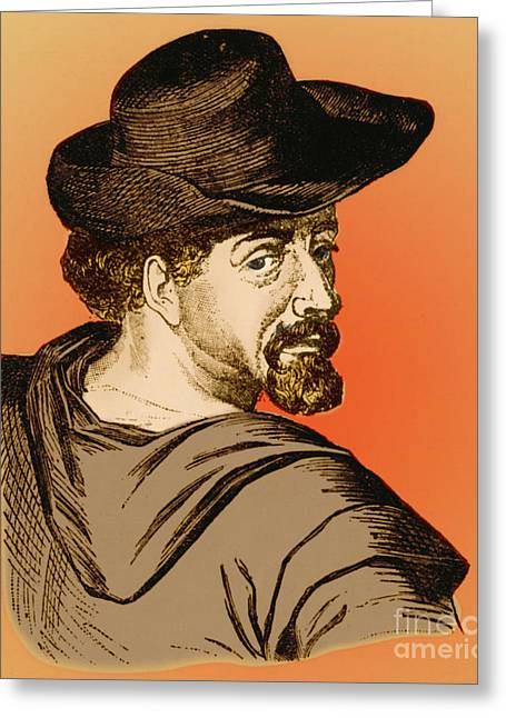 Miguel Drawing Greeting Cards - Miguel De Cervantes, Spanish Author Greeting Card by Photo Researchers