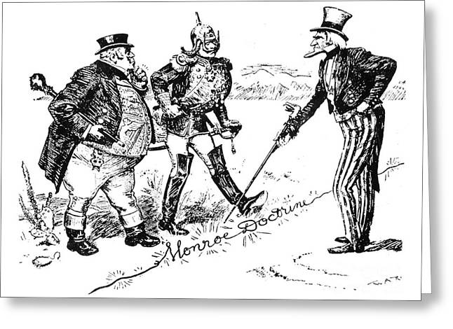 Political Acts Greeting Cards - Monroe Doctrine Cartoon Greeting Card by Granger
