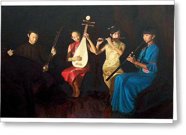 Lute Paintings Greeting Cards - 4 Musicians Greeting Card by Yan Zhou