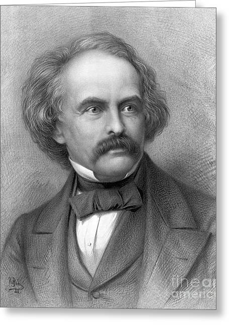 Romantic Movement Greeting Cards - Nathaniel Hawthorne, American Author Greeting Card by Photo Researchers